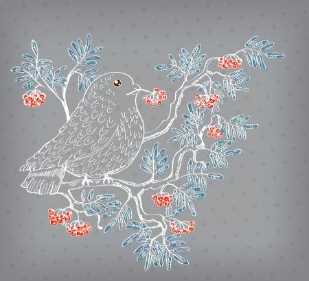 ash: bullfinch and mountain ash background, beautiful illustration