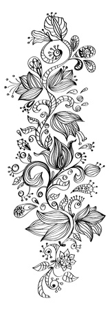 ink art: Stylish floral background, hand drawn flowers, illustration