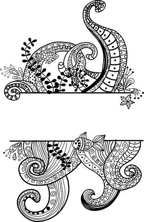 feelers: Ornamento de mar elegante, bella ilustraci�n para el dise�o