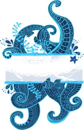 feelers: Stylish sea ornament, beautiful illustration for design
