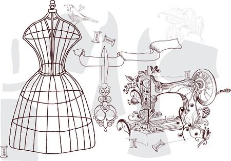 maquina de coser: Conjunto del vintage - la moda y la costura, la ilustración