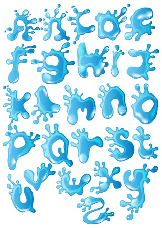 Cute glossy blue water alphabet, illustration Vector