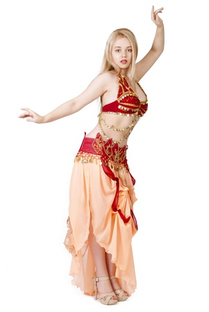 bellydancing: beautiful young blonde - Arab Dancer, in great costume over white Stock Photo