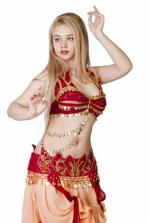 bellydance: beautiful young blonde - Arab Dancer, in great costume over white Stock Photo