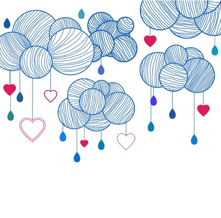 Cute background with hand drawing clouds, illustration Vector