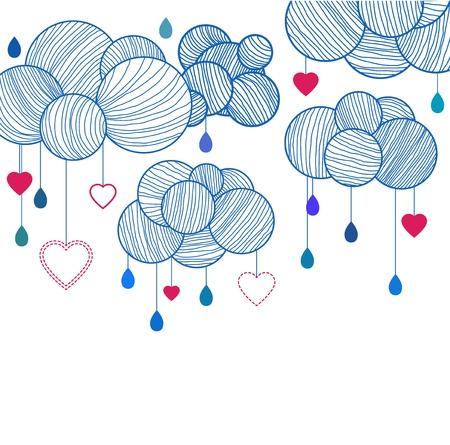 cute wallpaper: De fondo linda con las nubes de la mano de dibujo, ilustraci�n