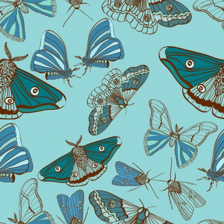moths: Seamless background with moth, for design, illustration
