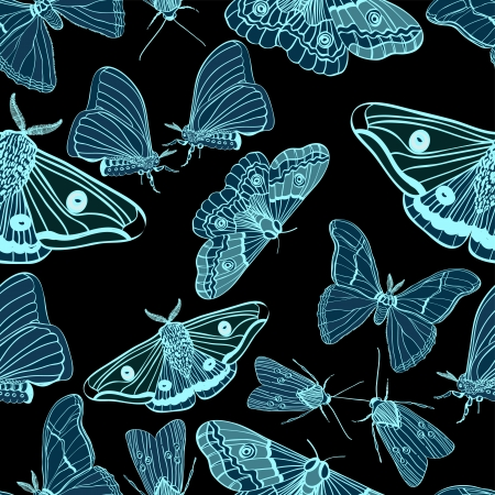 textile image: Seamless background with moth, black and blue, for design, illustration