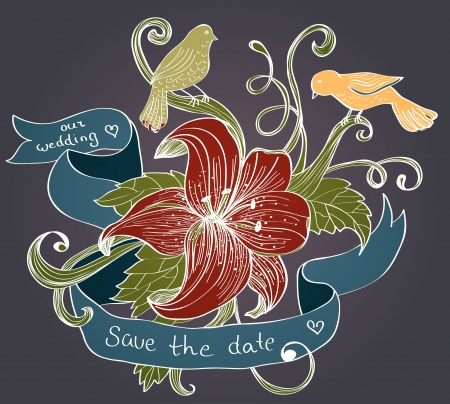 bird of paradise: old fashion background with flower, birds and ribbon for design, illustration