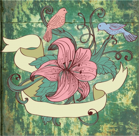romantic date: old fashion background with flower, birds and ribbon for design, illustration