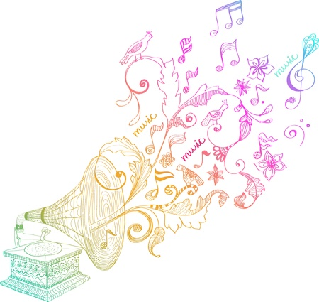 Vintage Gramophone, Platenspeler achtergrond met florale versiering, mooie illustratie