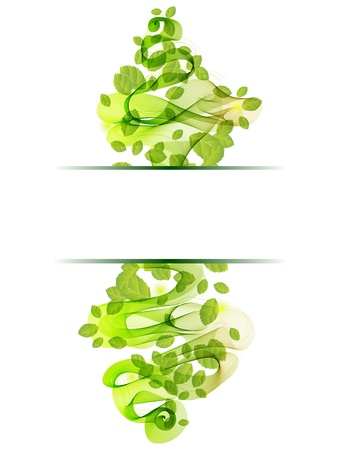 natural color: abstract background with fresh green leaves and wave, illustration for your design  Illustration