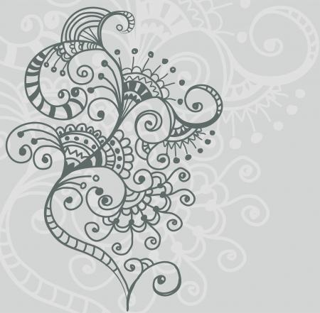 flower clip art: Stylish floral background, hand drawn flower, illustration