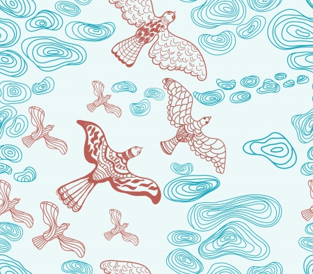 birds in flight: Seamless background with clouds and birds, beautiful illustration Illustration
