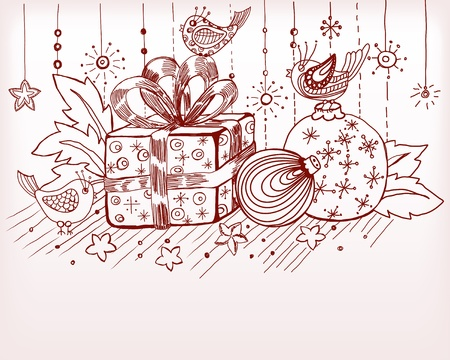 Christmas hand drawn card for xmas design, with balls, birds and present, illustration Vector