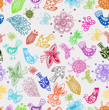 Seamless Background with funny birds and flowers, cute hand drawn illustration Stock Vector - 14459126