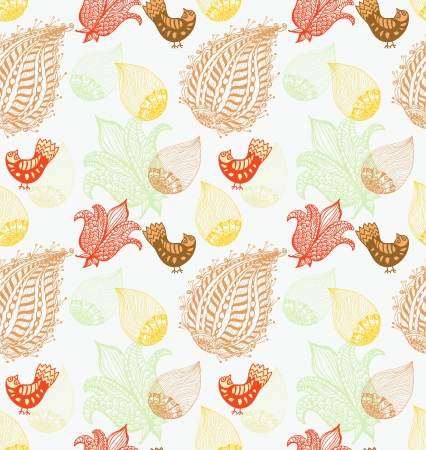 styled: Seamless Background with funny birds and flowers, cute hand drawn illustration