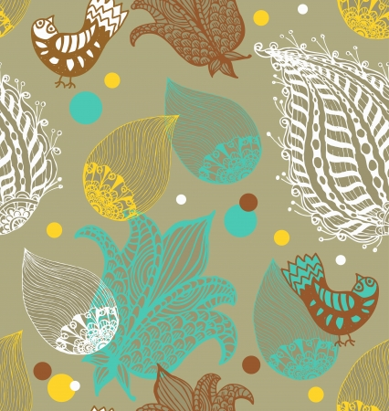 Seamless Background with funny birds and flowers, cute hand drawn illustration Vector