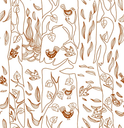 birch forest: Seamless Background with funny birds and tree, cute hand drawn illustration