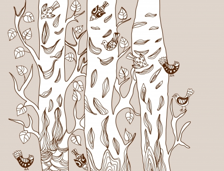 nutcracker: Background with funny birds and tree, cute hand drawn illustration