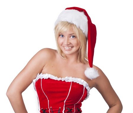fairy woman: Beautiful smiling young woman in Santa Claus clothes over white Stock Photo