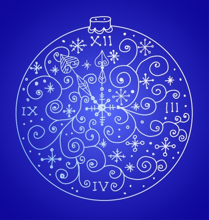 Christmas background with ornamental clock and snowflakes, illustration Vector
