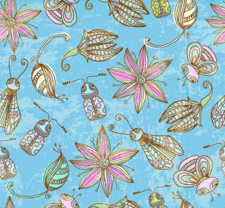 Seamless grunge background with cute insects, illustration Stock Vector - 14513208