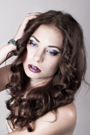 Bright blue eye make-up, beautiful woman portrait, Eyeshadows and lip stick photo