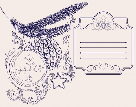 Christmas hand drawn card for Xmas design, with balls and place for text, illustration Vector