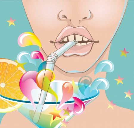 Beautiful woman face, lips with bright cocktail, illustration Vector