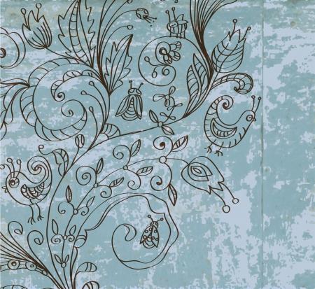 Stylish vintage floral background, hand drawn flower, illustration Stock Vector - 14732757