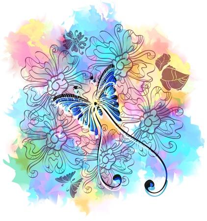 mariposa caricatura: Romántico fondo colorido floral con la mariposa, ilustración Vectores