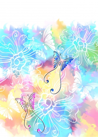 Romantic colorful floral background with butterfly, illustration with place for text Vector