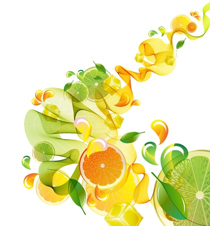 citrus: Oranje en limoensap splash met abstracte golf, illustratie