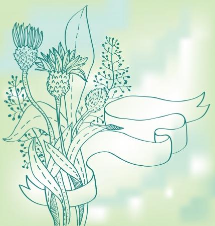 distel: Stilvolle vintage floral background, handgezeichnete Blume, Illustration