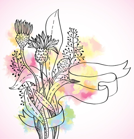 thistles: Romantic colorful wild flower background with ribbon, illustration