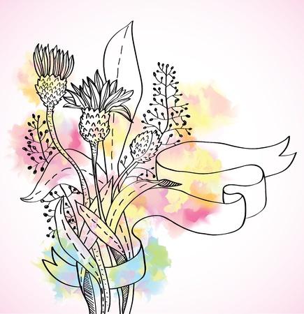 ostrożeń: Romantyczny kolorowe tło dziki kwiat ze wstążką, ilustracji
