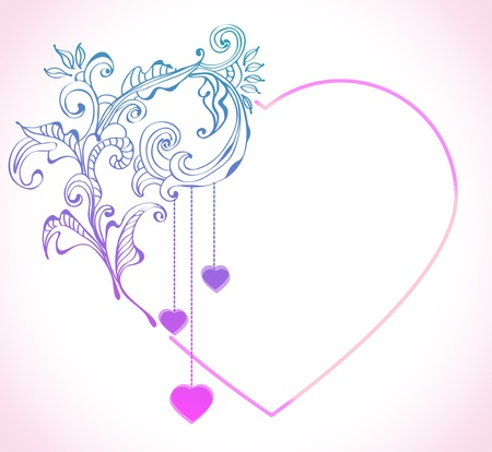 Floral Valentine background with heart, illustratuin Vector