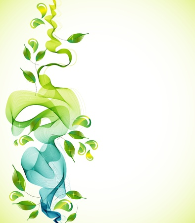 futuristic nature: Abstract green natural  background with wave, illustration Illustration