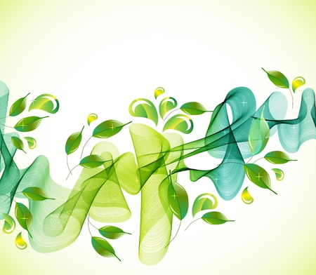 Abstract green natural  background with wave, illustration Ilustrace