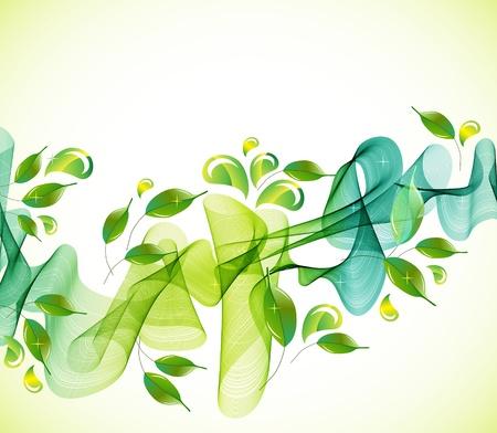 příroda: Abstraktní zelené přírodní pozadí s vlnou, ilustrace Ilustrace