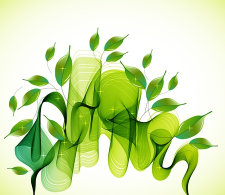 Abstract green natural background with wave, illustration