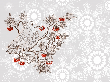 bullfinch: bullfinch and mountain ash background, beautiful  illustration