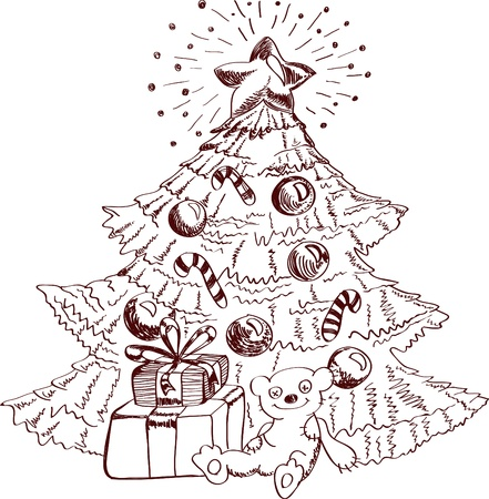 furtree: Christmas hand drawn card for xmas design, with balls, fur-tree and present, illustration