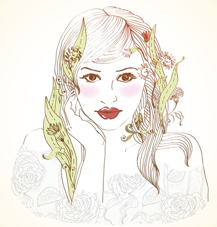 Hand Drawn Beautiful woman with flowers in hair, beautiful colorful illustration Stock Vector - 15219681