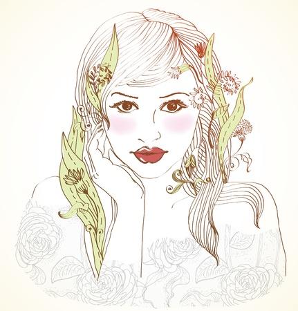 Hand Drawn Belle femme avec des fleurs dans les cheveux, belle illustration colorée
