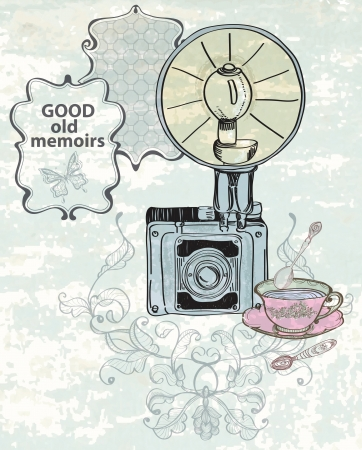 Vintage background with retro photo camera, illustration Vector