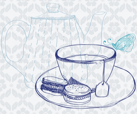 luncheon: tea time background with cup,cookies and butterfly Illustration