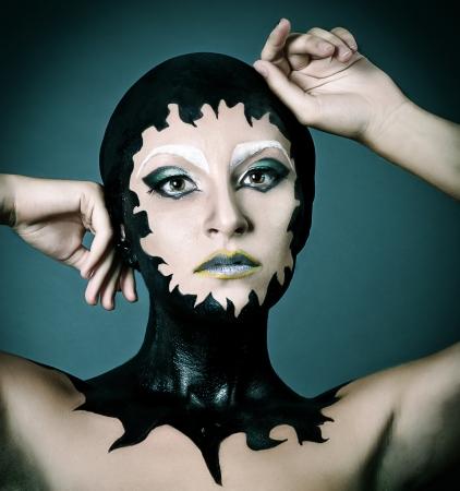 portrait of fashion woman model with original make up photo