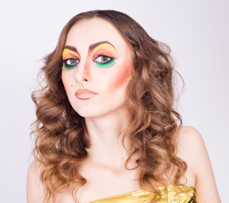 portrait of fashion woman model with beauty bright make-up  Beautiful famale face with clean skin  photo